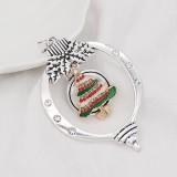 Navidad 20MM diseño árbol de Navidad con esmalte de diamantes de imitación KC8035 broches de joyería