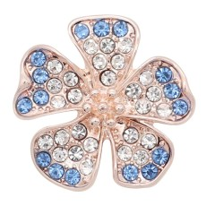 20MM rose-gold plated design Flower snap with light blue rhinestone KC8036 snaps jewelry