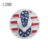 12MM design metal USA flag snap with shoes slipper KS7065-S enamel snaps jewelry