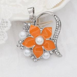 Flores 20MM snap Perlas chapadas en plata Esmalte naranja KC9142 broches de joyería