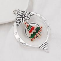Navidad 20MM diseño árbol de Navidad con esmalte de diamantes de imitación KC8033 broches de joyería