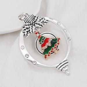 Christmas 20MM design Christmas tree with rhinestone enamel KC8033 snaps jewelry