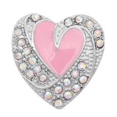 Love 20MM snap Silver Plated avec émail strass rose KC9137 snaps bijoux