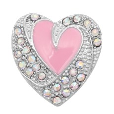 Love 20MM snap Silver Plated avec émail strass rose KC9137 snaps bijoux