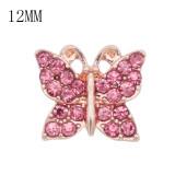 Diseño 12MM Broche de oro rosa de mariposa con diamantes de imitación rosa KS7074-S broches de joyería