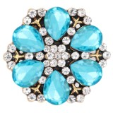 20MM  snap Gold Plated with blue  rhinestone KC9115  snaps jewelry