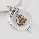 Navidad 20MM diseño árbol de Navidad con esmalte de diamantes de imitación KC8034 broches de joyería