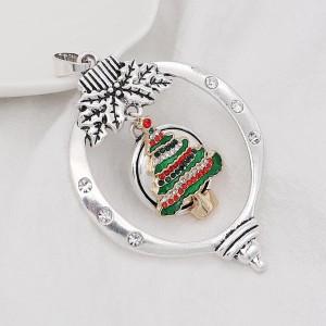Christmas 20MM design Christmas tree with rhinestone enamel KC8034 snaps jewelry