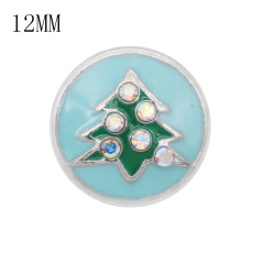 Christmas 12MM design metal christmas tree snap with AB rhinestone KS7060-S enamel snaps jewelry