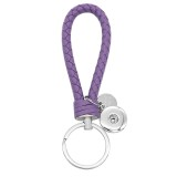 PU leather Keychain Keychain with purple button fit snaps chunks KC1217 Snaps Jewelry