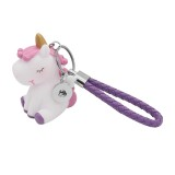 Unicorn PU leather Keychain Keychain with purple button fit snaps chunks KC1221 Snaps Jewelry