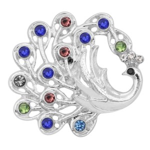 20MM Peacock snap Silver Plated with Multicolor rhinestone KC9190 Multicolor
