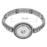 メタルブレスレットホワイトラインストーンフィット18&20MMスナップチャンク1ボタンスナップジュエリーKC0893