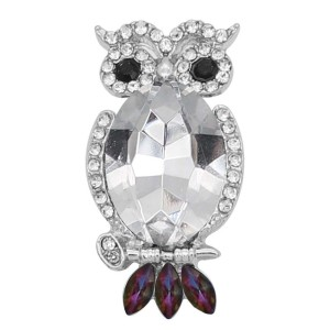 20MM Owl snap Silver Plated with white rhinestone KC9183 snaps jewelry