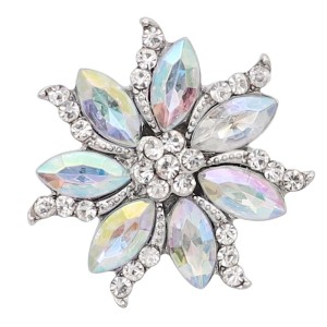 20MM  snap Silver Plated with White rhinestone KC9163 snaps jewelry