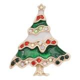 Arbre de Noël design 20MM de Noël avec émail strass KC8042 s'encliquette bijoux