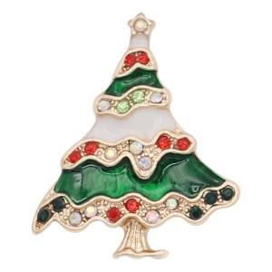 Christmas 20MM design Christmas tree with  rhinestone enamel KC8042 snaps jewelry