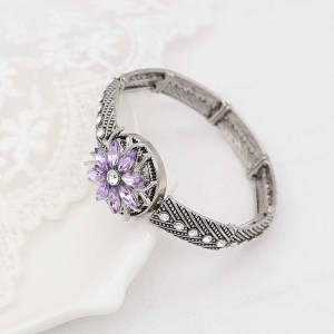 20MM  snap Silver Plated with purple rhinestone KC9172 snaps jewelry