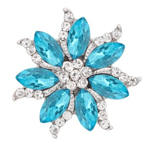 20MM  snap Silver Plated with blue rhinestone KC9165 snaps jewelry