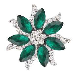 20MM  snap Silver Plated with green rhinestone KC9168 snaps jewelry