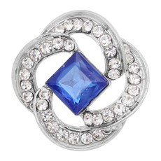 20MM  snap Silver Plated with blue rhinestone KC9156 snaps jewelry