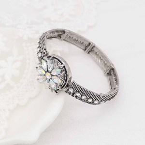 20MM  snap Silver Plated with White rhinestone KC9171 snaps jewelry