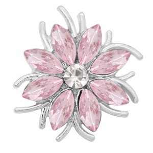 20MM  snap Silver Plated with pink rhinestone KC9174 snaps jewelry