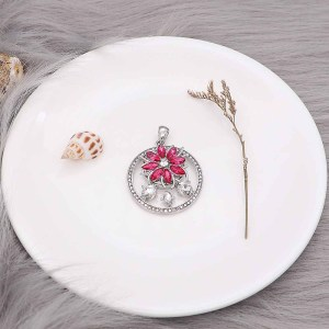 20MM  snap Silver Plated with rose-red rhinestone KC9173 snaps jewelry