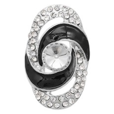 20MM  snap Silver Plated with  rhinestone KC9180 snaps jewelry black
