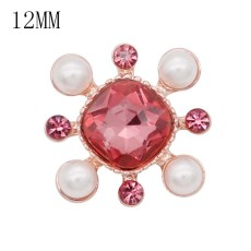 12MM design rose gold snap with rose rhinestone and pearl KS7078-S snaps jewelry