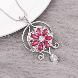20MM  snap Silver Plated with rose rhinestone KC9166 snaps jewelry