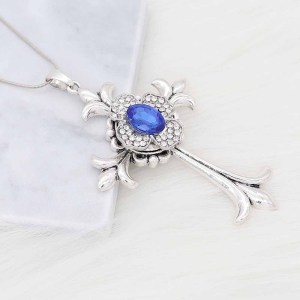 20MM  snap Silver Plated with blue rhinestone KC9188 snaps jewelry