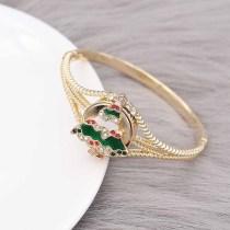Navidad 20MM diseño árbol de Navidad con esmalte de diamantes de imitación KC8042 broches de joyería