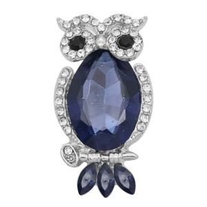 20MM Owl snap Silver Plated with blue rhinestone KC9184 snaps jewelry