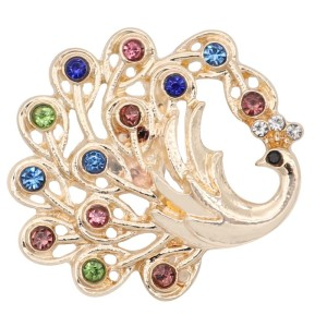 20MM Peacock snap gold Plated with Multicolor rhinestone KC9191 Multicolor
