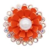 20MM conception en plaqué or rose Bouton-pression fleur d'oranger avec perle KC8039 boutons-pression bijoux