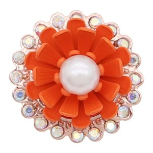 20MM Rose-Gold überzogenes Design Orange Flower Snap mit Perle KC8039 Snaps Schmuck