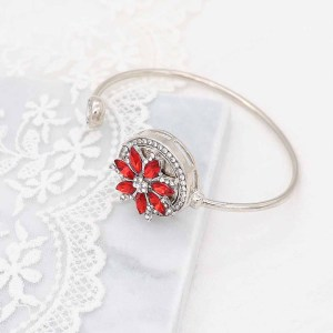 20MM  snap Silver Plated with red rhinestone KC9167 snaps jewelry
