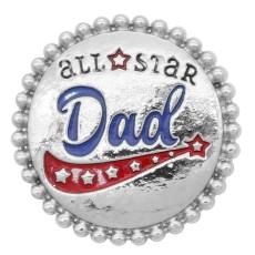 20MM all star Dad snap Plateado de plata KC8046 broches de joyería