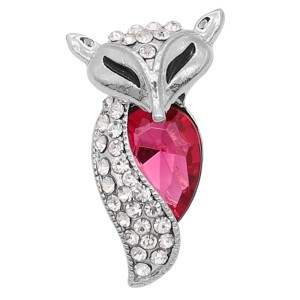 20MM Fox snap Silver Plated with rose-red  rhinestone KC9179 snaps jewelry