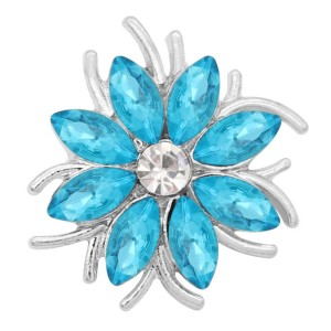 20MM  snap Silver Plated with blue rhinestone KC9175