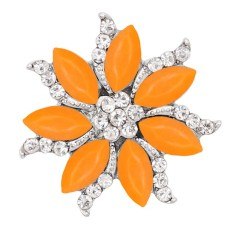 20MM  snap Silver Plated with orange rhinestone KC9169 snaps jewelry