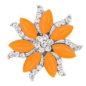 20MM complemento plateado con diamantes de imitación naranja KC9169 broches de joyería