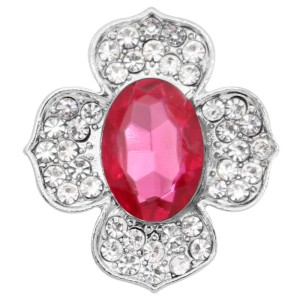 20MM  snap Silver Plated with rose rhinestone KC9187 snaps jewelry