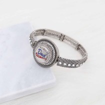 metal bracelet With white rhinestones fit 18&20MM snaps chunks 1 buttons snaps Jewelry KC0893