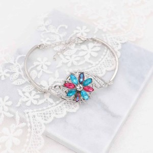 20MM  snap Silver Plated with Multicolor rhinestone KC9170