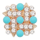 20MM snap gold Plated with rhinestone and blue pearl KC9158 snaps jewelry