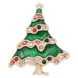 Arbre de Noël design 20MM de Noël avec émail strass KC8043 s'encliquette bijoux