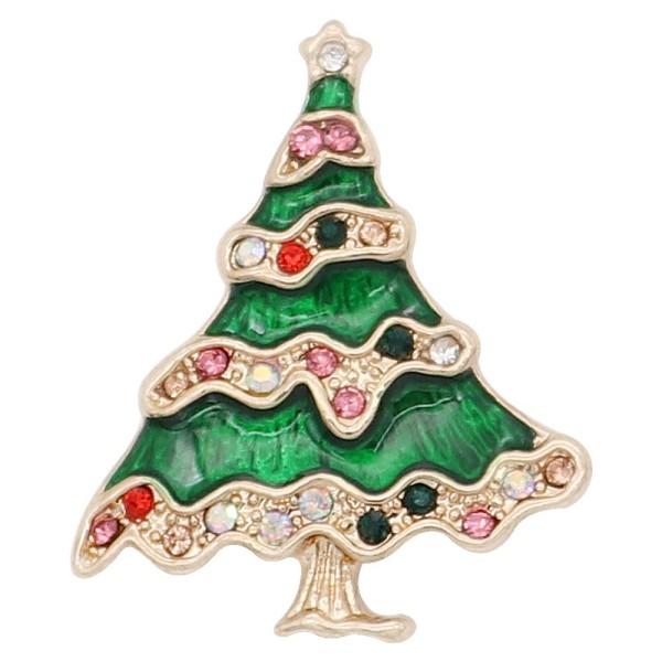 Navidad 20MM diseño árbol de Navidad con esmalte de diamantes de imitación KC8043 broches de joyería