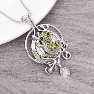 20MM Frog snap silver Plated with green rhinestone and enamel KC9194 snaps jewelry